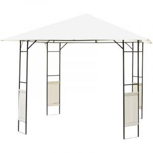 Outsunny Tonnelle barnum pavillon de jardin dim. 3L x 3l x 2,6H m métal époxy toile polyester haute densité crème