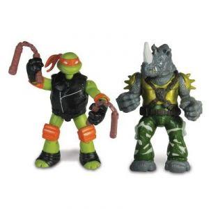 Giochi Preziosi Michelangelo vs. Rocksteady - Figurines à fonction Tortues Ninja :