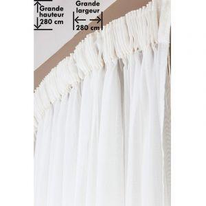 Voilage 280 x 280 cm à Galon Fronceur Grande Hauteur Grande Largeur Effet  Brodé Uni Blanc 3fae5ccbb80e
