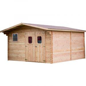Habrita Abri emboîté - 28 mm - Avec toiture en feutre VV Onduline - 23,14 m² - Abri emboîté - 28 mm - Avec toiture en feutre VV Onduline - 23,14 m²