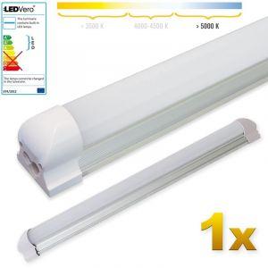 Ledvero 1x LED SMD réglettes lumineuses LED en blanc froid, T8 G13 couvercle laiteux - 60 cm, 8W, 800lm- prêt pour l'installation