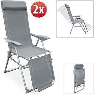 Deuba Set de 2 fauteuils de jardin - Pliable réglable - Chaise longue transat - Jardin terrasse camping