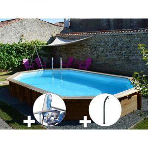 Sunbay Kit piscine bois Safran 6,37 x 4,12 x 1,33 m + Kit d'entretien + Douche