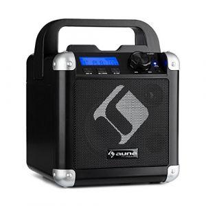 Auna BC-1 Système Sono portable DJ Karaoké Bluetooth avec écran LCD - entrées micro jack 6,3mm, 1 entrée Guitare, USB, AUX-in - noir