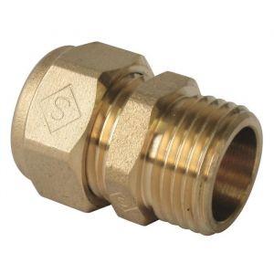 Somatherm Raccord droit mâle à compression pour tube PER (10x12 - 12x17) - Ø PER : 10x12 - Filetage : 12x17