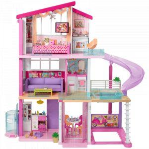 Mattel Mobilier Dreamhouse, maison de rêve pour poupées avec piscine, toboggan et ascenseur accessible en fauteuil roulant, jouet pour enfant, GNH53