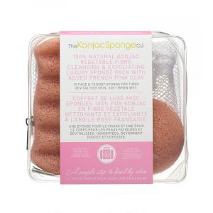 The Konjac Sponge Co Duo de voyage Eponges à l'argile rose