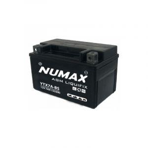 Numax Batterie moto Premium AGM avec pack acide YTX7A-BS 12V 6Ah 105A