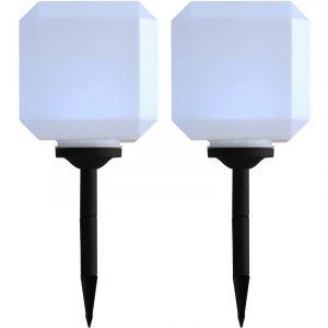 VidaXL Lampe cubique solaire à LED d'extérieur 2 pcs 20 cm Blanc