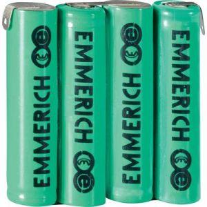 Emmerich Pack d'accus 4x R03 (AAA) NiMH 255053 cosses à souder en Z 4.8 V 800 mAh