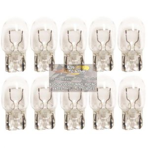 10 Ampoules T20 - 12V 21W 2800K - Wedgebase - W3x16D - Blanc - W21W