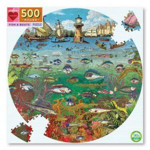 Eeboo Puzzle rond 500 pièces : Poissons et bateaux - Mixte