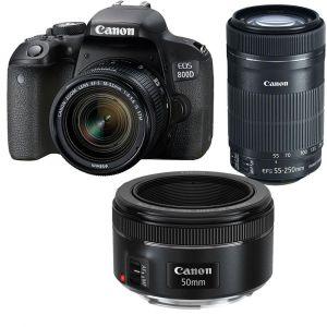 Canon EOS 800D (avec 3 objectifs 18-55mm, 55-250mm et 50mm