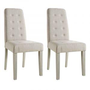 ALVIS Lot de 2 chaises de salle à manger 45x58x95 cm Beige