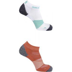 Salomon Speed - Chaussettes course à pied - 2 Pack rouge/blanc EU 39-41 Chaussettes Running