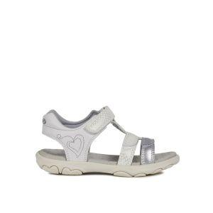 Geox Sandal Cuore J9290B Mixte Enfant Sandales,Sandales,Fille,Garcon Sandales,Chaussures d'été,Sandales d'été,Velcro,T-Fermoir,Blanc,29 EU