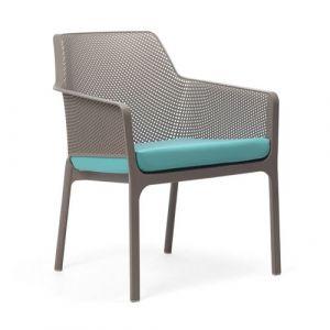 Nardi Coussin d'assise pour fauteuil de jardin NET RELAX 57x52 par - Turquoise - Extérieur - Fermeture Zip