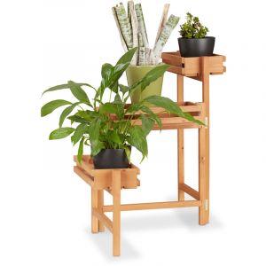 fb1a65953aa Relaxdays Étagère pour plantes en bois support pot de fleurs en escalier  décoration 3 niveaux 57