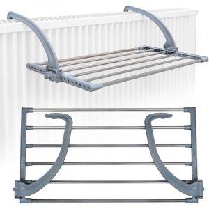Eyepower Étendoir Séchoir à Linge Pliant 62x32x20,5cm à accrocher sur Le radiateur fenêtre Bain pour étendre sécher lessive vêtements mouillées Acier INOX