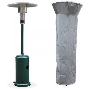Alice's Garden Chauffage d'extérieur gaz 12,5kW - Finland - Parasol chauffant vert, réglable, porte en façade, roulettes et housse