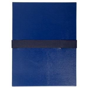 Exacompta 2652E - Chemise à dos extensible balacron, à sangle velcro, coloris bleu foncé