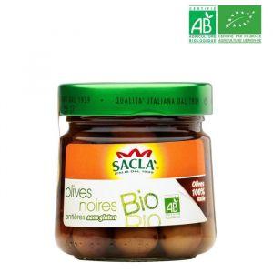 Sacla Antipasti Olives noires entières - 212 ml - Bio