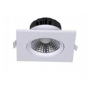 V-TAC 5W Spot LED Encastrable Réglable Carré 350LM 68° Corps Blanc PKW VT-1100 SQ SKU 7332 - Blanc chaud 3000k
