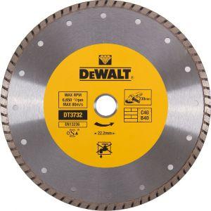 Dewalt Disques diamantés Turbo pour tronçonnage à sec/Diamètre:230 mm / Alésage:22.2 mm / Hauteur des segments:7 mm / Largeur des segments:2.6 mm / Quantité par emballage:1 / Quantité minimale de commande:1 DT3732