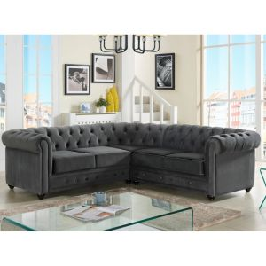 canap dangle en velours chesterfield anthracite