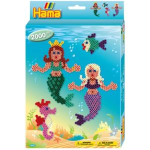 Hama Boîte de 2000 perles à repasser avec plaques : Les sirènes