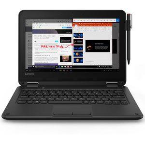 "Lenovo 300e 81FY - Conception inclinable - Celeron N3450 / 1.1 GHz - Win 10 S Entry - 4 Go RAM - 32 Go eMMC - 11.6"" IPS écran tactile 1366 x 768 (HD) - HD Graphics 500 - Wi-Fi, Bluetooth - noir"