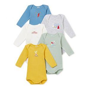 Petit Bateau SF BODIES US ML Body Bébé garçon Multicolore (Variante 1 00) 3-6 mois (Taille fabricant: 3M 3 MOIS) Lot De 5