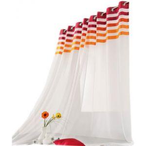 LINDER Voilage blanc avec haut rayé 145 x 260 cm