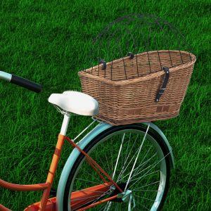 VidaXL Panier arrière de vélo avec couvercle 55x31x36 cm Saule naturel