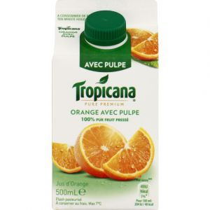 Tropicana Pur jus d'orange pressé avec pulpe - La brique de 50cl