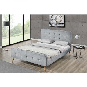 Concept-Usine Lit Lanka - Cadre de lit scandinave gris clair avec pieds en bois - 140x190