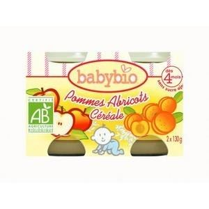 BabyBio Petit Pot Fruit : Pomme-Abricot-Céréales 2 x 130g - dès 4 mois