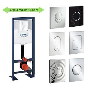 Grohe Bati support wc largeur réduite avec plaque de commande, plaque commande Skate Air, vertical, chrome