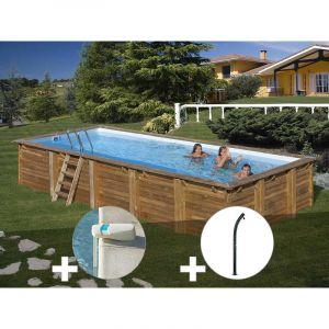 Sunbay Kit piscine bois Braga 8,00 x 4,00 x 1,46 m + Alarme + Douche
