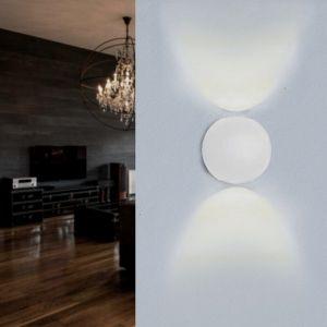Silamp Applique Murale Blanche Design LED Double Faisceaux IP54 6W - Blanc Neutre 4000K - 5500K