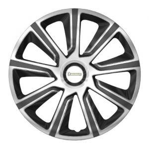 """Michelin 4 ENJOLIVEURS 15"""" BICOLORE - Enjoliveur type jante alu NVS 42. Pour tout type de roue 15''.En ABS gris métallisé. Laque haute finition vernie.La fixation se fait par simple clipsage sur la jante.Lot de 4 enjoliveurs en boîte vitrine."""