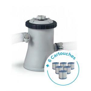 Intex Pack Filtre épurateur à cartouche 1,25 m³/h + 6 Cartouches Type H