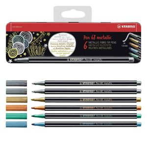 Stabilo Feutre Pen 68 metallic Boîte métal 6 couleurs