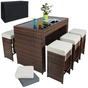 210815 - Table haute jardin avec 6 tabourets rotin
