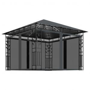 VidaXL Tonnelle avec moustiquaire et lumières 3x3x2,73 m Anthracite