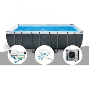 Intex Kit piscine tubulaire Ultra XTR Frame rectangulaire 5,49 x 2,74 x 1,32 m + Kit de traitement au chlore + Kit d'entretien + Pompe à chaleur