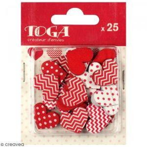 Toga Formes en bois Cœurs rouge et blanc 25 pcs