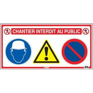 Taliaplast 620011 - Panneau de signalisation chantier interdit au public 800x400mm