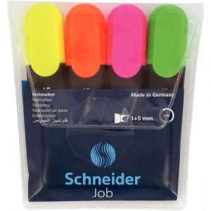 Schneider (Papeterie) 1500 Pochette de 4 surligneurs Jaune/Orange/Rose/Vert