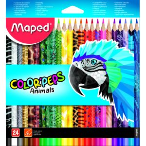 Maped Pochette de 24 crayons de couleur Color'Peps Animals